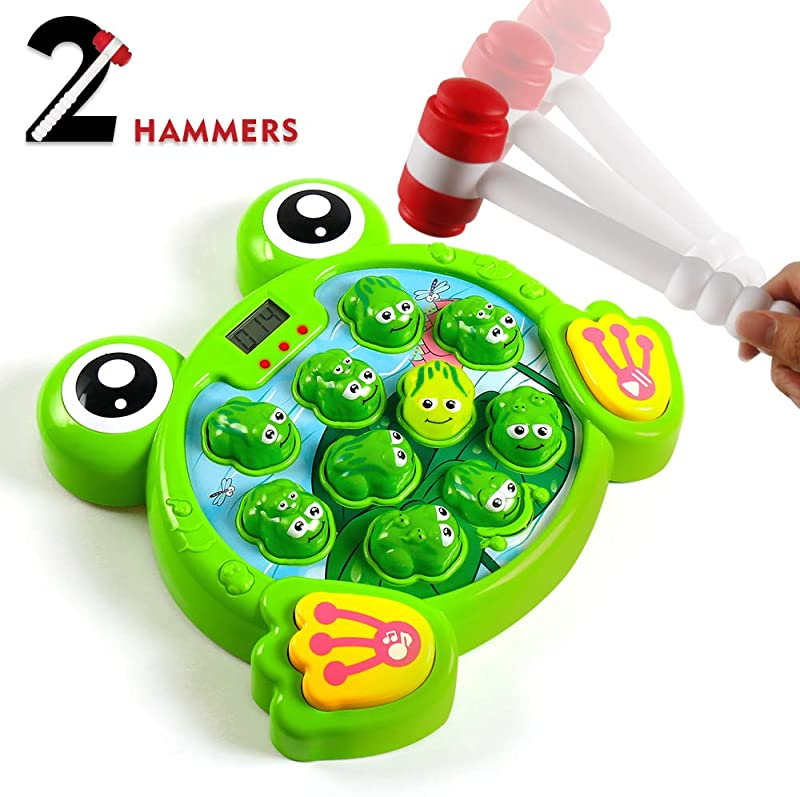 YEEBAY Interactive Whack A Frog Game Learning Active Early Developmental Toy Fun Gift For Age 2 3 4 5 6 7 8 Years Old Kids Boys Girls 2 Hammers Included