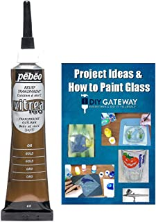 Glass Paint Outliner Gold Leading: Permanent Bake Bonding Technology, Create Faux Lead Lines for Glass Stain Painting + Ebook