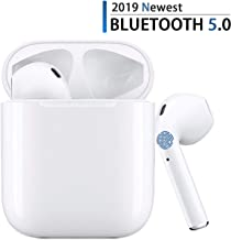 Bluetooth 5.0 Wireless Earbuds with Fast Charging Case 24Hrs Playtime IPX5 Waterproof TWS Stereo Headphones in-Ear Built-in Mic Bluetooth Headset for Apple Airpods Android/iPhone (White)