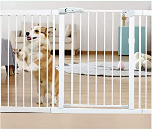 HONGNA Telescopic Children s Fence Isolation Door Baby Gates For Stairs Stair Guardrail Pressure Mount Punching Free  Color White  Size 103-110cm
