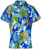 King Kameha Blusa hawaiana casual para mujer, con botones en el frente, manga corta, impresión de hojas de piña - azul - XX-Large