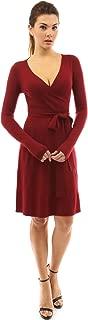 burgundy wrap dress long sleeve