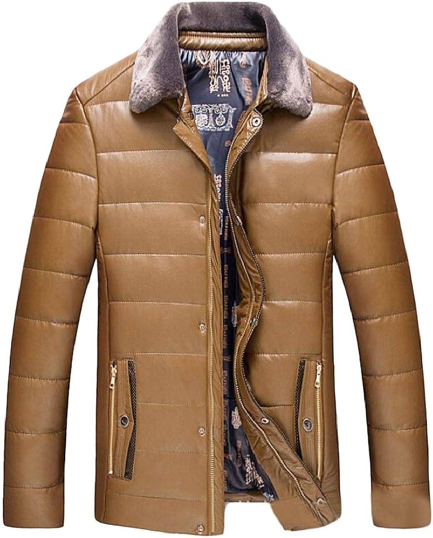 2d97cc9e5de28 QD-CACA Mens Winter Warm PU Fleece Business Business Business Thick Parka  Jacket Coat Outwear cad294