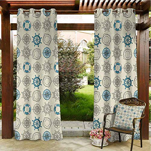 Compass Home Curtains Patio Cabana Porch Gazebo Panel Drapery 96'x96' Marine Themed Doodle Art Vintage Inspirations Traveling Exploration Cruise Pattern Beige Teal