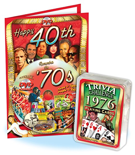 41st Birthday Combo: 1976 Trivia Playing Cards & 1970's Decade DVD