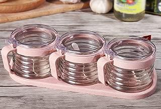 ZTMN Seasoning Tank Seasoning Box Wheat Element Glass Bottles Kitchen Seasoning Sugar Salt Storage Tank (Color : Pink)