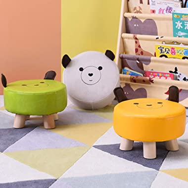 Solid Wood Footstool and Shoe Changing Stool Solid Wood Low Stool Chair Cute and Creative Sofa Footrest (Color : Green, Size