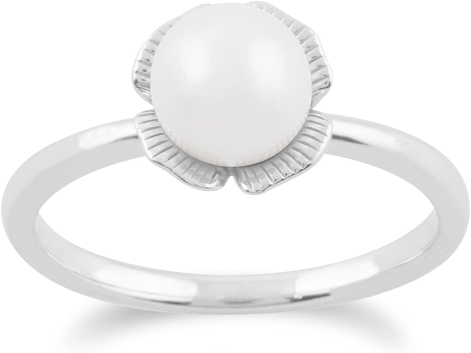 Gemondo Pearl Ring, 925 Sterling Silver Ginkgo Flower 1.88ct Pearl Ring