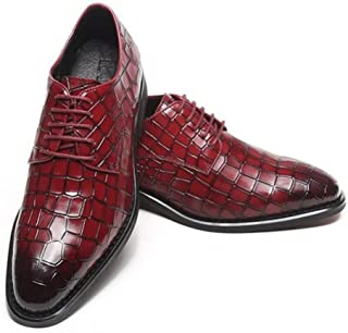 Leather Business Oxford for Men Low Top Formal Shoes Round Toe Lace up Genuine Leather Embossed Anti-slip Rubber Sole shoes (Color : Wine red, Size : 39 EU)