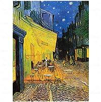 夜のカフェテラスウォールアートキャンバス絵画ポスターリビングルーム家の装飾壁の装飾-60x80cmフレームなし