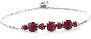 Made with Swarovski Ruby Crystal Round Bolo Bracelet Jewelry Ct 3.8 Adjustable