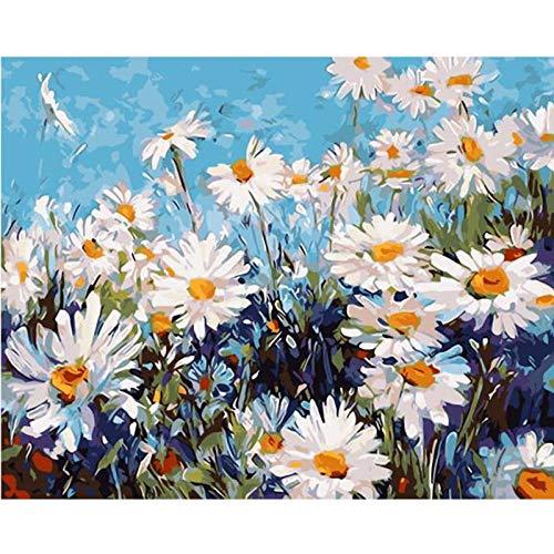 Pintar por Numeros para Adultos y Niños, Manzanilla DIY Pintura por Números con Pinceles y Pinturas Decoraciones para 40 x 50 cm Sin Marco