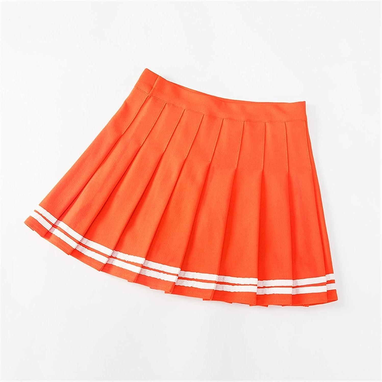 LSXLSD Fashion Women Pleated Skirt High Waist Woman Mini Skirts Summer Harajuku Female Short Skirts Casual A-Line Ladies Dance Skirt (Color : Orange2, Size : X-Large)