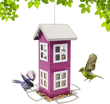 LIMEIDE Wild Bird House Feeder, Weatherproof Country House Design for Easy Cleaning & Refills, Comes with Hook to Hang on Tre