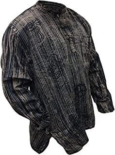 Mens Stonewashed Striped Grandad Shirt