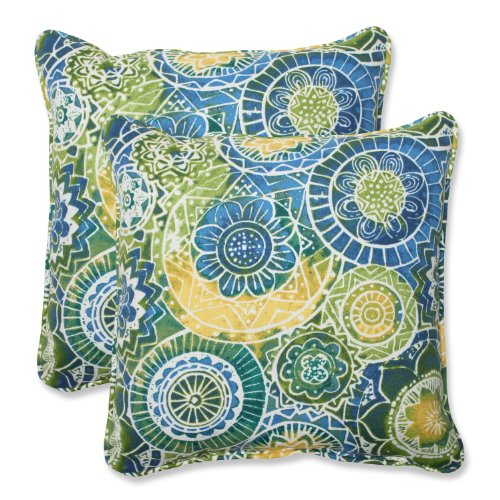 """Pillow Perfect Outdoor/Indoor Omnia Lagoon Throw Pillows, 18.5"""" x 18.5"""", Blue, 2 Pack"""