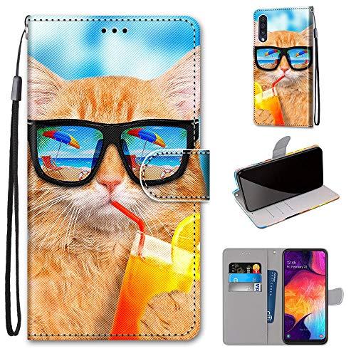 i-Case Handy Schutzhülle Kompatibel mit Samsung Galaxy A50 Handyhülle Phone Cases PU Lederhülle Brieftasche BookStyle Etui Handytasche Wallet Kartenfach Flip Tasche für Galaxy A50,Kühle Goldkatze