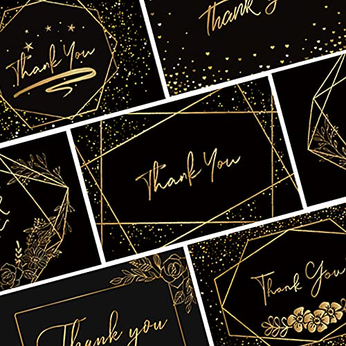 MONCAP 120 Stück Dankeskarten Thank You Karte Schwarz Gold Muster Dankeschön Mini Danke Business Karte Hochzeit Graduierung Lehrer Jubiläum Geschäfte Online Retail Verpackung