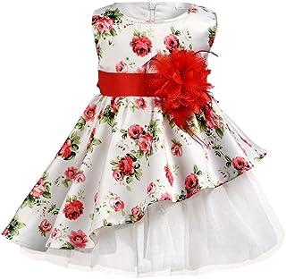 子供服 フォーマルドレス Yochyan 子供 女の子 キッズドレス 可愛い キュート ドレス ノースリーブ 蝶結び 花 プリント パーティードレス プリンセスドレス 誕生日 結婚式 コットン ファッション おしゃれ チュチュスカート ワンピース