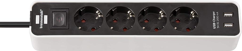 Brennenstuhl Ecolor Stekkerdoos, 4-Voudig met USB-Laadbus, Schakelaar en 1,5 m Kabel, Wit/Zwart