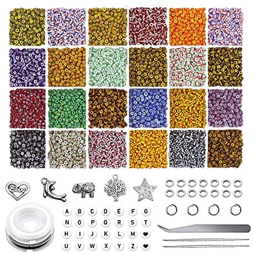 Kit de joyería Conjunto de kit de artesanía de cuentas, perlas de pulsera para fabricación de joyas, cuentas de semillas de vidrio Corazón sonriente de acrílico de acrílico perlas de cuerdas de cuerda