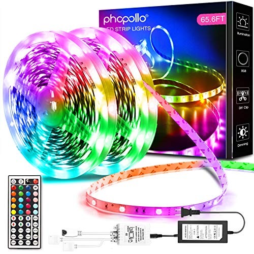 Phopollo Led Lights 65.6ft Long Led Strip Lights for Bedroom Color Changing Luces Led para...