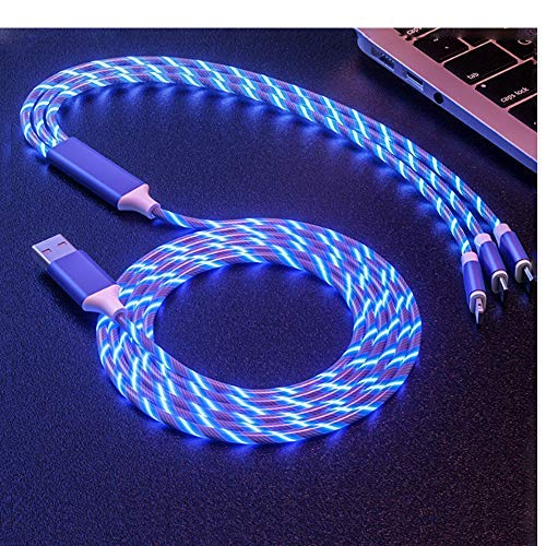 Multi 3 in 1 LED Flowing Shining Charger Cable Light Up Charger 4FT Car Charging Cable USB Cable Compatible with Type C Android iOS