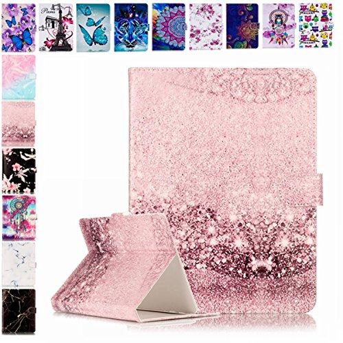 E-Mandala Universal 7 Zoll Hülle Etui Flip Hülle Leder Wallet Cover Tablet PC Tasche mit Kartenfach Klapphülle Ledertasche Lederhülle - Rose Gold