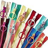 Cremallera de nailon 20 piezas Cremallera de color con anillo de Quoit, para coser ropa de bolsa de artesanía a medida (20 cm 10 piezas)