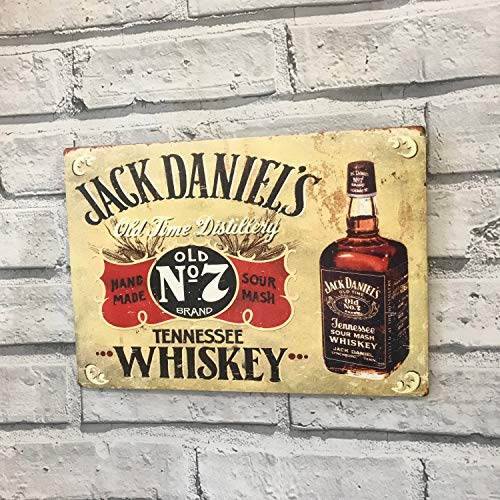 Ainiteey Tin Sign Jack Daniels Tennessee Whisky Metal Advertising Sign Bar Pub Man Cave Shed 20 x 30 cm