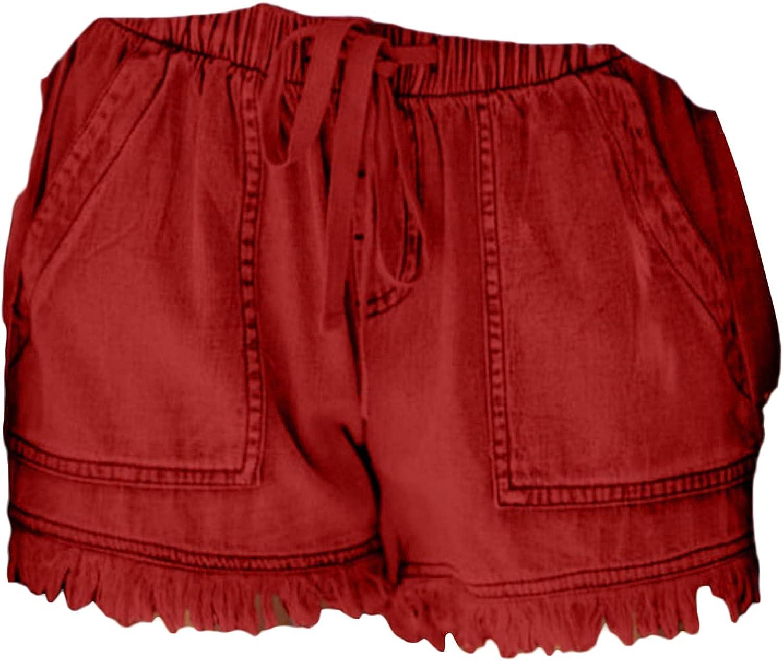Womens Drawstring Frayed Denim Shorts Elastic Waist Cotton Washed Short Jeans Summer Raw Hem Jean Shorts with Pockets