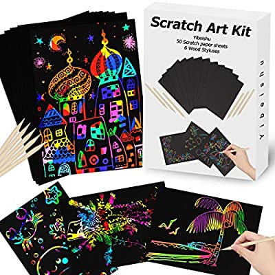 Rainbow Scratch Paper Art Set for Kids Activity Black Scratch Off Art Paper Sheets Magic Arts Crafts Supplies Kit Creative Projects for Kids Girls Boys Birthday Party Favors Game Christmas Toys Gift