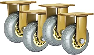 XINKONG 4 stuks industriële wielen, goud, zware werkwielen, remwielen, meubels, steekwagen, transportrol (kleur: A, groott...