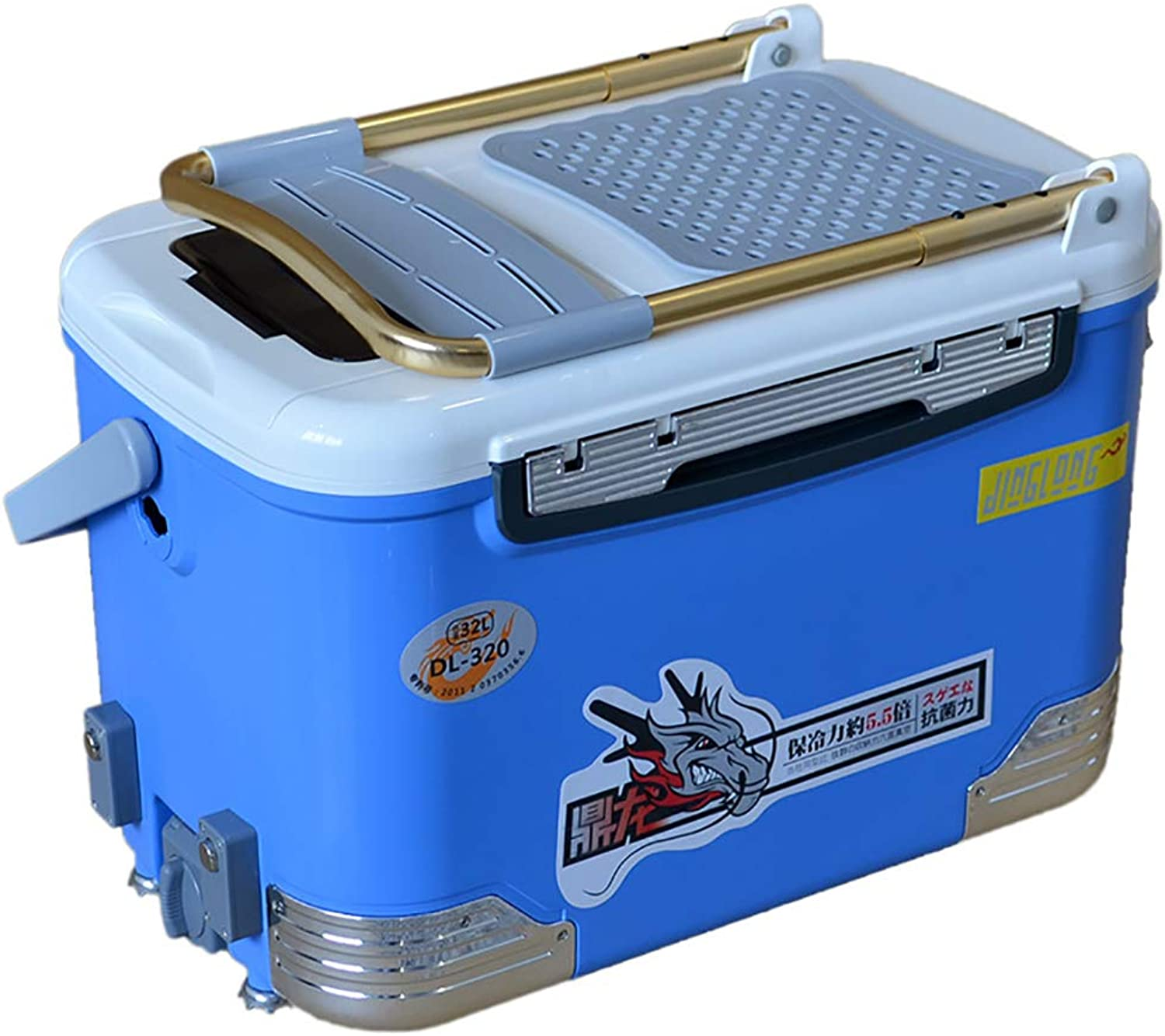 MultiFunction Fishing Incubator Box with Seat 32l Large Capacity Lift Foot Design with Backrest Outdoor Fishing for Men