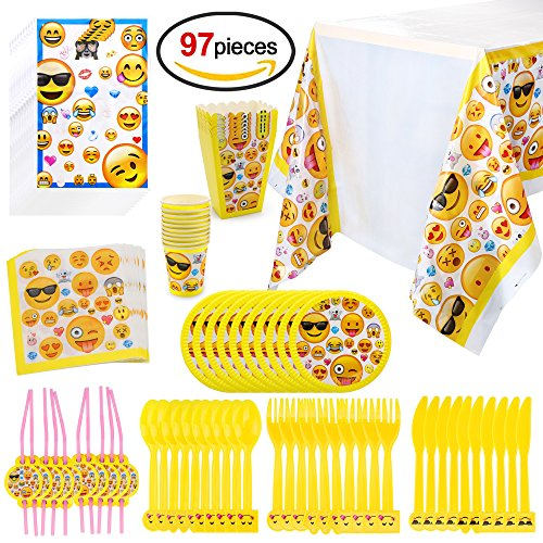 HOWAF Emoji Kit de Mesa Party Fiesta de Infantiles cumpleaños, (97 Piezas: Juego de Cena, Cubertería, Platos, Vasos Desechables, servilletas, Mantel, Bolsas de cumpleaños, pajas)