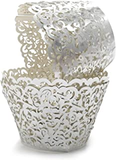 Silver Cupcake Wrappers 100pcs/pack Lace Cupcake Liners Laser cut Cupcake Papers cupcake cups Muffin cups for Wedding/Birthday Party Decoration