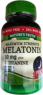Nature's Truth Melatonin 10 mg plus L-Theanine Tablets Maximum Strength - 72 ct, Pack of 3