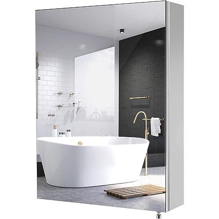 Esituro Sbp0027 Bathroom Mirror Wall Cabinet With Doors White W X H X D Approx 42 X 58 5 X 12 Cm Amazon De Kuche Haushalt