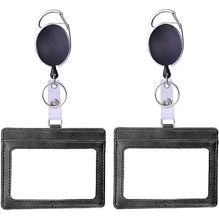 Porte-badge rétractable horizontal pour carte d'identité avec porte-clés extensible en cuir PU double face 3 emplacements pour cartes pour le personnel (horizontal)