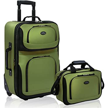 U.S. Traveler Rio Rugged Fabric Expandable Carry-On Luggage Set, Green