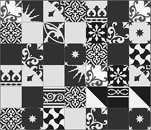 1 m² Zementfliesen orientalische Fliesen Patchwork 907 schwarz weiss (PW-907)
