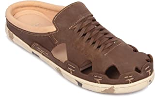 tZaro Genuine Leather Brown Color Mule - Hector Army Brown, RON420CMBRW