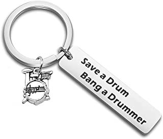 ENSIANTH Funny Drummer Gift Save A Drum Bang A Drummer Keychain Drum Kit Gifts Musician Keychain Percussion Jewelry