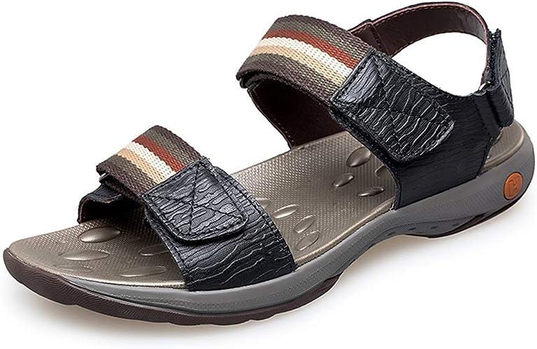 BAIF Sandales Simples Chaussures d'été à Lacets à Boucles et à Crochets antidérapants pour Hommes (Couleur  Noir, Taille  6 UK)