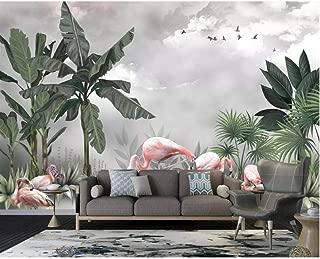 Pbldb Hand Painted Mural Wallpaper Hd Nordic Plant Flamingo Beautiful Scenery Living Room Tv Background Wall 3D Wallpaper-200X140Cm