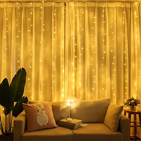 300LED//10ft Curtain Fairy Hanging String Lights Wedding Party Wall Decor Lamp US