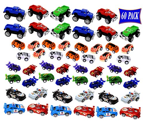 60 toy Cars, Trucks, Pickup Trucks, Monster Trucks, Fire Engine, Airplanes and all other kinds of Kids Playing Vehicles Toy Cars Assortment, great for School Classroom Fun and Party Favor Giveaways.