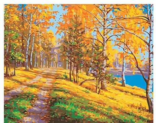 Vanzelu schilderij boom bos DIY schilderen op cijfers Abstract veilige weg olieverfschilderij op canvas afbeelding decoratie acryl wand art foto schilderijen op getallen voor volwassenen 40 x 50 cm No Frame