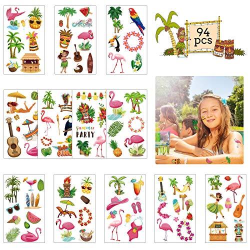 ZERHOK 12Stk Hawaii Tattoos Tropische Temporäre Kindertattoos Luau Aufkleber Flamingo Ananas Flip-Flops Deko für Sommerfest Beach Pool Kindergeburtstag Party Mitgebsel Geschenk