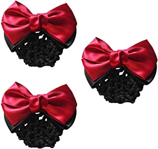 378f9c91675c MOTZU 3 Pieces Bowknot Snood Net Barrette Hair Clip Bun Cover Hairnet Lace  Bow Decor for